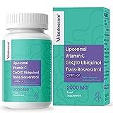 2000 mg dreifache liposomale Antioxidansformel Vitamin C, CoQ10 (reduzierte Form von Ubiquinol) und Trans-Resveratrol-Ergänzung 60 Kapseln mit hoher Absorptionsrate, für Antioxidantien, Anti-Aging