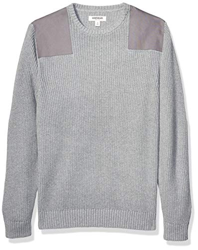 Amazon Brand - Goodthreads Men's Soft Cotton Military Sweater, Heather Grey X-Large