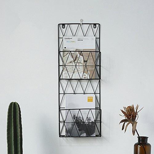 WAYER Wand-zeitschriftenhalter, Metall prospekthalter Magazin-Regale Kreativ Einfache Moderne Wall hangings Perforiert Wohnzimmer Büro und zu Hause-schwarz 26x8x70cm(10x3x28inch)