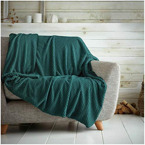 Überwurf mit Waffelwabenmuster, weich, warm, Überwurf für Sofa, Bett, Reise, Tagesdecke, Smaragdgrün, Doppelbett – 150 x 200 cm