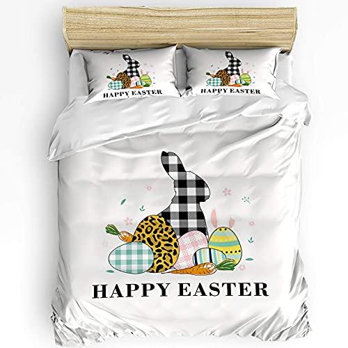Juego de funda nórdica de microfibra de 3 piezas, juego de fundas nórdicas con estampado de leopardo a cuadros felices de Pascua, huevos de conejito y zanahorias, juego de funda nórdica suave y cómoda