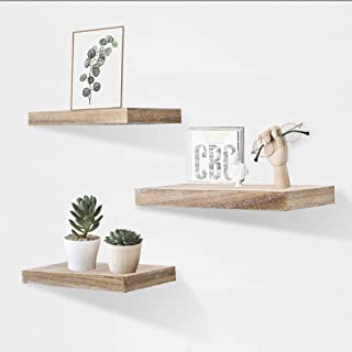 AHDECOR Floating Wall Mounted Shelves, Set of 3 Display Rustic Wood Ledge Shelves Wide Panel for Bedroom Office Kitchen Living Room, 5.9