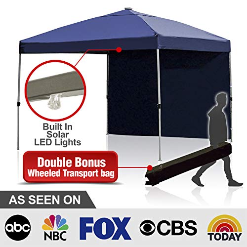 Backyard Expressions - Best 10 x 10 Outdoor Canopy Tent - Free Bonus Solar LED Lights and Side Walls