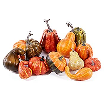 Lanpn Various Shapes and Assorted Color Artificial Pumpkins Decoration for Halloween Thanksgiving Fall Harvest Home Decoration 12 Piece Set …