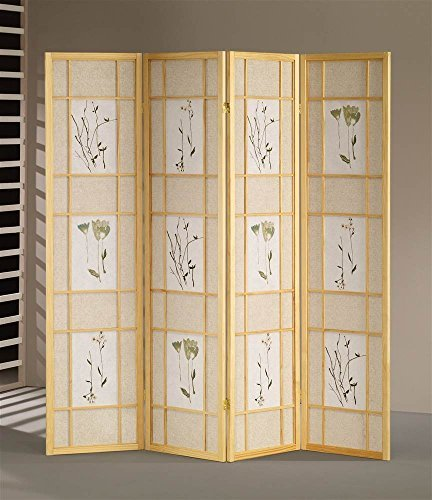 ADF 5442-4 4-Panel Shoji Screen with Natural Finish Frame by ADF
