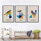 ZAWAGU Conjunto de 3 piezas Pintura de lienzo Arte de la pared Aceite Abstracto Geometría colorida Pájaro Tangram Animal Mural Inicio Habitación Sofá Fondo Decoración Cartel