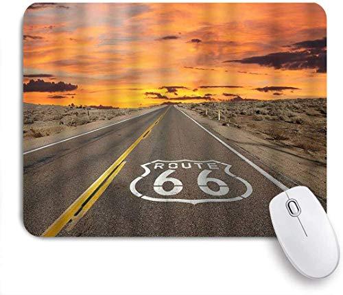 Gaming Mouse Pad, Highway Route 66 Pflaster bei Sonnenaufgang in der kalifornischen Mojave-Wüste Dawn Dusk, rutschfeste Gummiunterlage Mousepad für Notebooks Computer Mausmatten