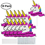 VIPbuy 10 Pack Unicorn Cake Toppers Decorations Glitter Cupcake Picks for Unicorn Theme Birthday Party Supplies