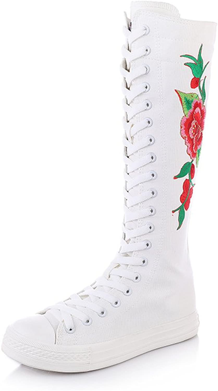 AGoGo Floral Embroidered Dance Sneakers High Top Canvas shoes for Women & Girls