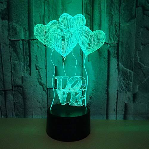 LKHF - Lámpara de decoración de corazones de amor, regalo de San Valentín de globos LED para niñas, mujeres, hombres, luz nocturna acrílica