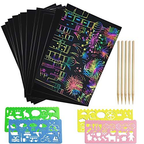 Kratzbilder Set für Kinder, 50 Große Blätter Kratzpapier mit Hintergrund in Gold, Silber und Regenbogen zum Zeichnen und Basteln mit Schablonen, Holzstiften und Stickern