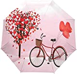 AOTISO Día de San Valentín Amor Corazón Árbol Bicicleta Portátil a Prueba de Viento A Prueba de Lluvia Protección Solar 3 Pliegues Auto Abrir Cerrar Paraguas