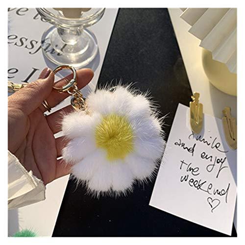Qsdxlsd Llavero El Color del Pelaje Llavero Refrescante pequeño de la Margarita for Las Mujeres del Anillo dominante del Coche del Encanto del Bolso llaveros (Color : White Yellow)