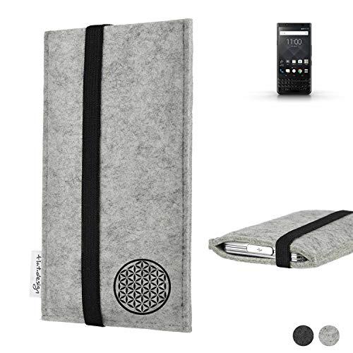 flat.design Handy Hülle Coimbra für BlackBerry KEYone Black Edition handgefertigte Handytasche Filz Tasche Hülle Blume des Lebens Lebensblume