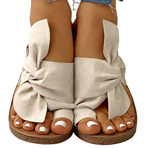 UMOOIN Women Wedges Sandals 2021 Casual Sandals Bowknot Clip Toe Platform Swing Summer Women Slide Slipper,white,37