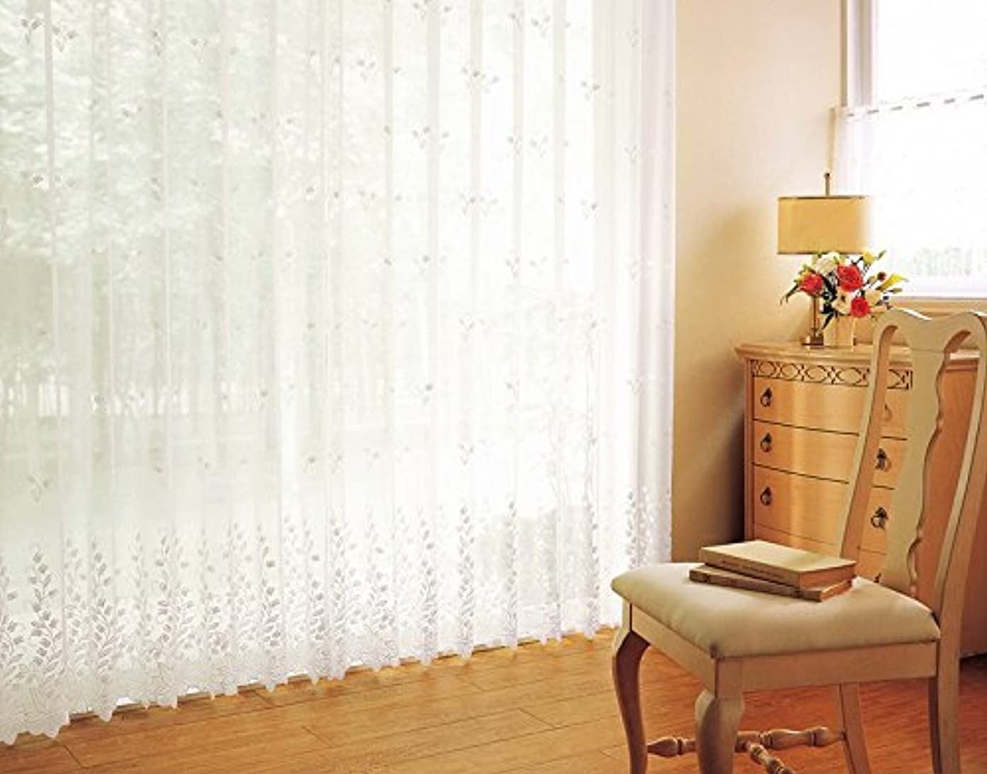罪人ステープルパンサー東リ 高級感を漂わせる刺繍 フラットカーテン1.3倍ヒダ KSA60405 幅:100cm ×丈:220cm (2枚組)オーダーカーテン