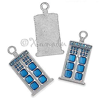 Doctor Who Blue Police Box Tardis 27mm Enamel Charms C2009