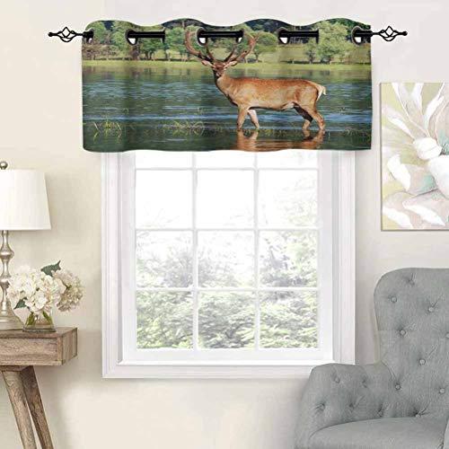 Elegante cortina con ojales, diseño de ciervo de montaña en el agua con fondo de bosque, juego de 1, 137 x 45,7 cm, decoración para el hogar para niños y niñas