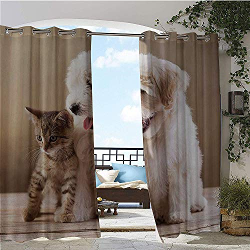 Outdoor Privacy Curtain for Pergola, Cute Baby Cat Kitten and Puppy Dog Best Friends Image Photo Artwork, Thermal Insulated Water Repellent Drape for Balcony W96 x L84 Inch Sand Brown Cream and White