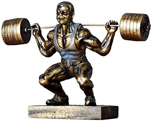 Equipo de vida Estatuas Decoración para el hogar Figuras Esculturas Figuras Coleccionables decorativos Adorno de estatuas Retro Levantamiento de pesas Hombre musculoso Personaje Estatua Estatuilla