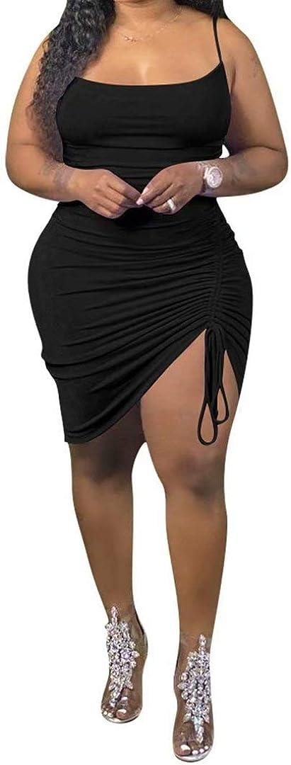 IyMoo Women's Sexy Plus Size Bodycon Spaghetti Strap Ruched Drawstring Mini Club Dresses