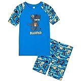 GCX Kinder-Badeanzug für Jungen, Sonnenschutz, UV-Schutz, kurzärmelig, Cartoon-Dinosaurier, Papier, 110/116