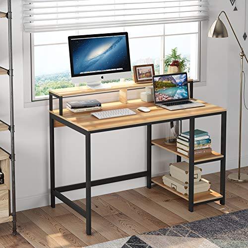 Escritorio para computadora Escritorio industrial para estudio, Tribesigns Estaciones de trabajo para computadora Mesa de escritorio para PC con marco de metal, 2 estantes