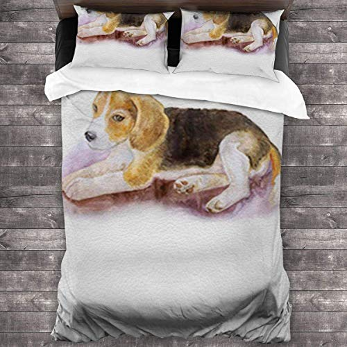 eneric Soft and Comfortable Three-Piece Bedding for All Seasons 86'' x70 Watercolor Painting Dog