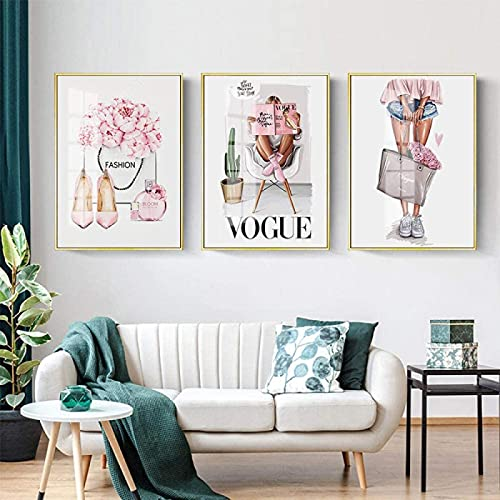 RuiChuangKeJi Estilo nórdico 3 Piezas 50x70cm Sin Marco Chica de Moda Tacones Altos Perfume Libro Vogue Maquillaje Póster Rosa Estampado Floral Imagen Salón de Belleza Decoración