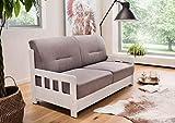 lifestyle4living Schlafsofa in grauem Microfaser | Sofa mit Schlaffunktion und Holzgestell.