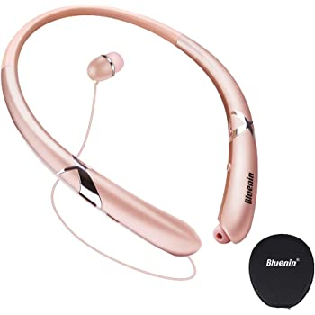 Bluetooth Headphones, Bluenin Bluetooth 5.0 Neckband Wireless Headphones Noise Cancelling Headset with Carrying Case Retractable Earbuds Stereo Earphones with Mic (Rose Gold)