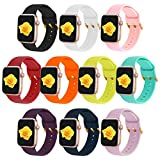 XVGJDZ 10-Pack Replacement Wristband Compatible with Apple Watch 38mm 40mm 42mm 44mm,Soft Silicone Watch Strap Durable Sport Bands for iWatch SE/Series 6/5/4/3/2/1. (Large 38mm/40mm)
