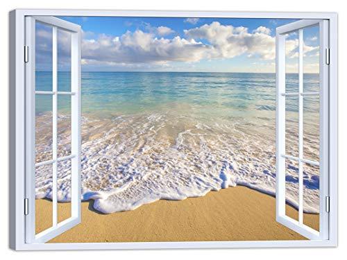 LuxHomeDecor Cuadro para ventana de playa y playa, 100 x 75 cm, impresión sobre lienzo con marco de madera, decoración artística