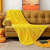 MIULEE Kuscheldecke Fleecedecke Flanell Decke Pompoms Einfarbig Wohndecken Couchdecke Flauschig Überwurf Mikrofaser Tagesdecke Sofadecke Blanket Bett Sofa Schlafzimmer Büro 125x150 cm Zitronengelb