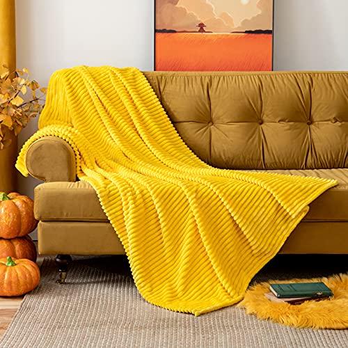 MIULEE Manta Blanket Terciopelo Grande para Sófas Mantilla de Franela para Siesta Suave Manta Corduroy para Cama Ligera y Cálida Felpa para Mascota Cama Habitacion 1 Pieza 125x150cm Amarillo