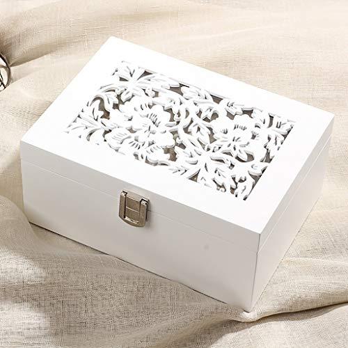 WXQIANG Caja de Madera Tallada Joyas Sencilla Corea Princesa Europea aretes Collar de la joyería de Almacenamiento Caja de Regalo Chica de la Boda (Size : S)