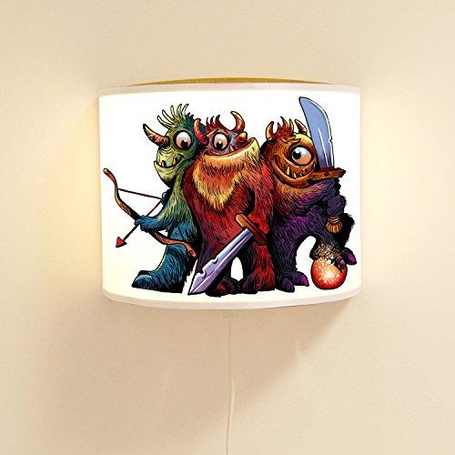 Wandtattoo-welt24 Lot de 3 Lampes murales pour Enfant Motif Monstre