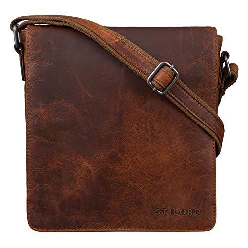 STILORD 'Gerry' Kleine Leder Messenger Bag Hochformat Umhängetasche für 9,7 Zoll iPad Tasche Echtes Leder im Modernen Vintage Stil, Farbe:Santana - braun