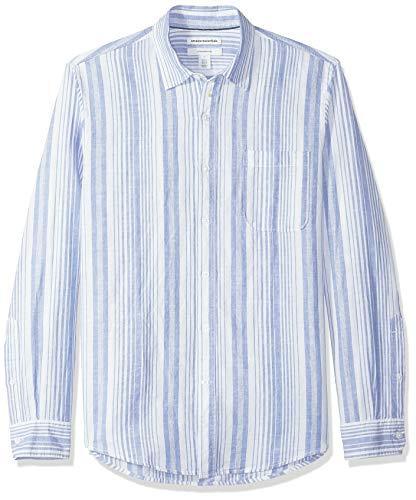 Amazon Essentials - Camicia da uomo a maniche lunghe, in lino, a righe, vestibilità aderente, Blu a righe, US M (EU M)