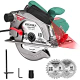 Circular Saw, HYCHIKA 12.5A Electric Saw with Fixed Speed 4700RPM, 2Pcs Blades(24T+ 40T): 7-1/4',...