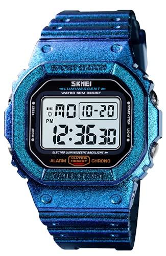 Digitaluhr Herren Wasserdicht Outdoor Digital Armbanduhr Sportuhren Herren mit LED/Alarm/Countdown/Kalender (Blau)