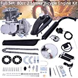 "80CC Bicycle Engine Kit, Motorized Bike 2-Stroke, Petrol Gas Engine Kit, Super Fuel-efficient for 24"",26"" or 28"" Bicycle (Silver)"