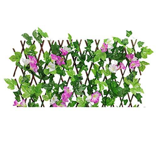 pegtoponía Artificial Valla de madera artificial, valla de confidencialidad retractable, setos artificiales plantas, morado, rojo, rosa, S/M, para decoración interior y jardín