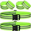 Hotop 6 Pieces Reflective Band Strap Safety Reflective Glow Belt PT Belt High Visibility Reflective Waist Belt for Arm, Wrist, Ankle, Leg Running Cycling Walking Marathon, Fluorescent Green