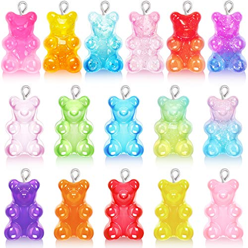 32 Pieces Resin Gummy Bear Pendant, CCOZN 16 Colors Candy Gummy Bear Charms Resin Cartoon Bear Pendant Bear Keychain Pendants for DIY Necklace Jewelry Making Crafting, Pure and Gradient Colors