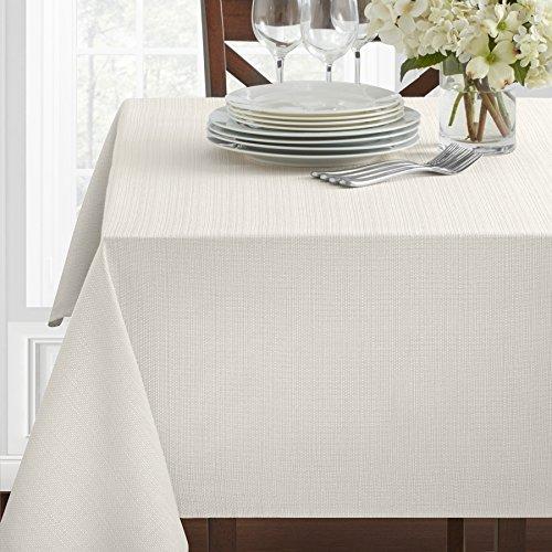 "Benson Mills Textured Fabric Tablecloth, White, 60"" x 104"" Rectangular"
