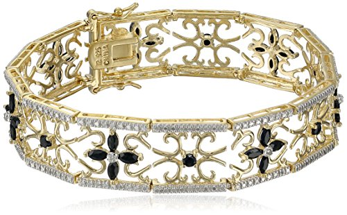 """Hot Sale Yellow Gold Plated Sterling Silver Sapphire and Diamond Accent Flower Bracelet, 7.5"""""""
