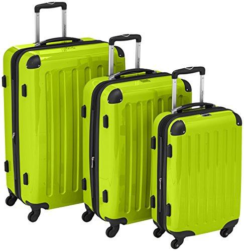 HAUPTSTADTKOFFER - Alex - 3er Koffer-Set Trolley-Set Rollkoffer Reisekoffer Erweiterbar,  4 Rollen, (S, M & L), Apfelgrün