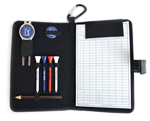 Piel auténtica Contiene dos chuletas y 2 marcadores de pelotas magnéticos También incluye 4 tees de madera de 7 cm Contador de tarjetas de puntuación con lápiz Incluye un práctico clip para garantizar la seguridad