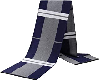 Men's Scarf Autumn and Winter Warm Casual Wild Scarf Men's Striped Scarf,Blue yppss (Color : Blue, Size : -)